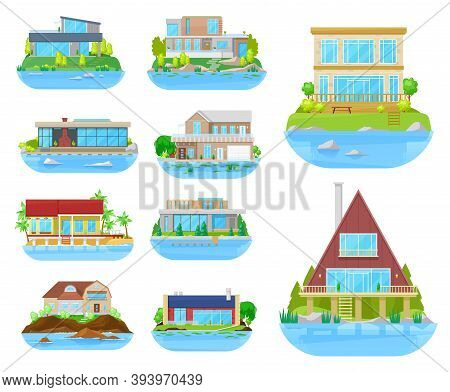 Beach House Building Isolated Vector Icons With Homes, Villas, Cottages And Bungalows, Seashore Real