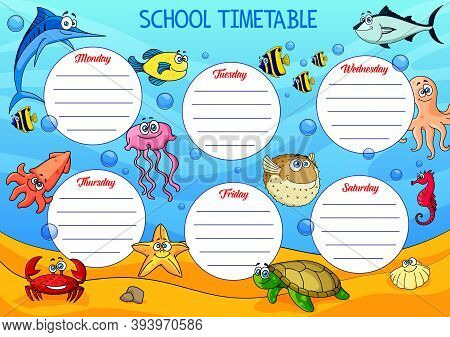 School Timetable With Underwater Cartoon Animals. Vector Educational Schedule With Funny Tuna, Starf