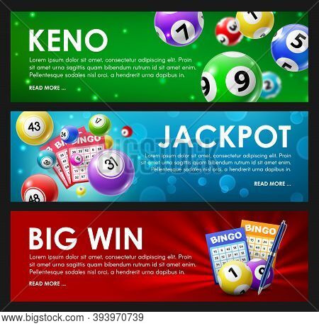 Lottery Raffle, Keno, Bingo, Jackpot Big Win Lotto Game Balls And Cards With Lucky Numbers. Vector B