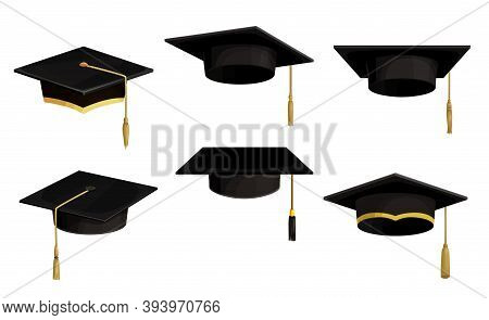 Academic Caps Isolated Vector Icons, Cartoon University Graduation Black Hats With Tassels And Golde