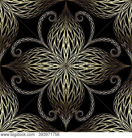 Vintage Gold Textured 3d Flowers Vector Seamless Pattern. Braided Floral Background. Repeat Ornate B