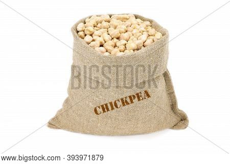 Chickpea In A Sack Isolated On A White Background. Chickpea In A Burlap Sack. Healthy Food. Chickpea