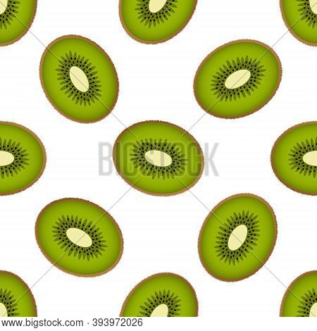 Cute Kiwi Seamless Pattern On A White Background. Fluffy Half Kiwi Fruits In Bright Colors. Vector I