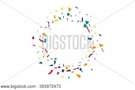 Yellow Confetti Invitation White Background. Carnaval Particles Background. Celebration Elements Pos