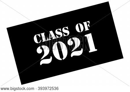 Black Card Class Of 2020 On White Background. Vintage Vector Poster, Banner. Luxury Design Vector Il