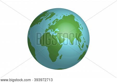 Cartoon Planet Earth For Web Design. Flat With Planet Earth On White Background For Concept Design.
