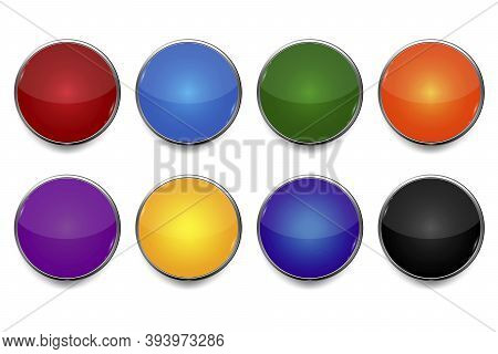 Abstract Icon With Colored Buttons On Blue Background. Vector Web Button. Round Shape. Stock Image.