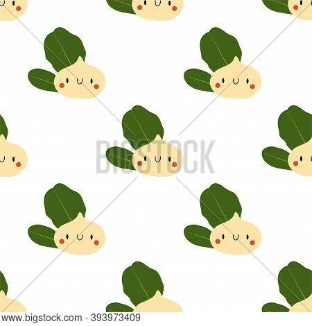 Kawaii Cartoon Macadamia Nut. Vector Seamless Pattern Eps.