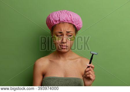 Sad Dejected Woman Looks At Razor, Applies Collagen Patches, Has Eye Skin Rejuvenation Treatment, We