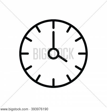 Black Line Icon For Four Clock Watch Timer Timepiece Stopwatch Horologe Time Analog Countdown