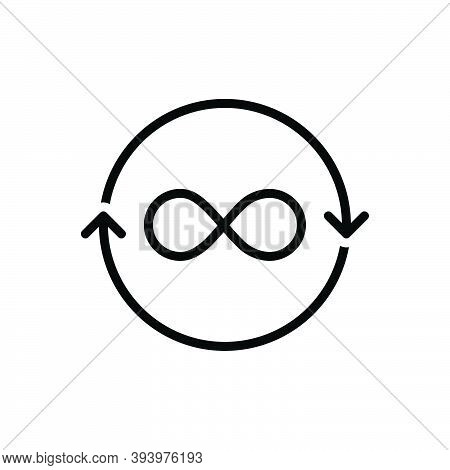 Black Line Icon For Ever Always At-any-time Infinity Eternity Forever Continuous Regularly Refresh P