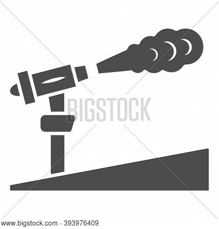 Snow Cannon Solid Icon, World Snow Day Concept, Ski Resort And Equipment Symbol On White Background,