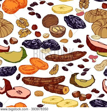Seamless Pattern Of Dried Fruits & Nuts, Bananas, Figs, Prunes, Raisins, For Menu & Culinary Recipes