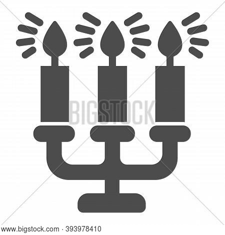 Antique Candlestick With Burning Candles Solid Icon, Christmas Concept, Candelabrum Sign On White Ba