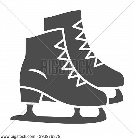 Skates Solid Icon, New Year Concept, Skating Sign On White Background, Ice Skate Icon In Glyph Style