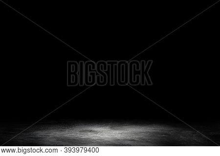 Empty Space Of Studio Dark Room Concrete Floor Grunge Texture Background.