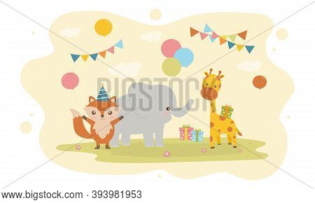Vector Illustration Of Happy Birthday Animal With Cake , Balloon Decoration For Greetings Card.set B