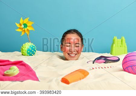 Happy Woman Tourist Spends Summer Vacation At Tropical Island, Closes Eyes And Giggles Positively, H
