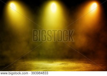 Empty Space Of Studio Dark Room Concrete Floor Grunge Texture Background With Golden Lighting Effect