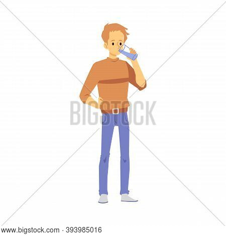 Guy Drinks Clear Drinking Or Mineral Water From Glass A Vector Illustration