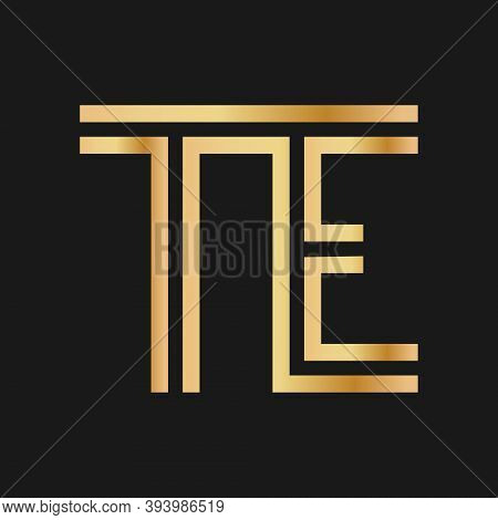 Uppercase Letters T And E. Flat Bound Design In A Golden Hue For A Logo, Brand, Or Logo. Vector Illu