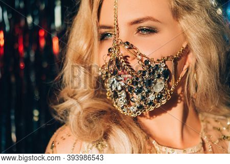 Quarantine Carnival. Pandemic Jewelry. Glamour Festive Look. Happy Blonde Woman In Sparkling Gold Je