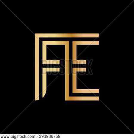 Uppercase Letters F And E. Flat Bound Design In A Golden Hue For A Logo, Brand, Or Logo. Vector Illu