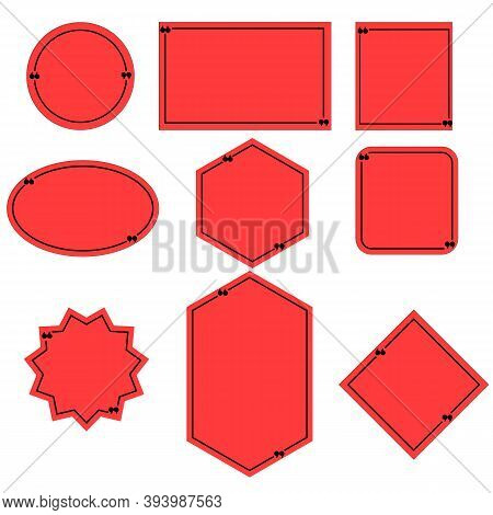 Red Quote Box Frame On White Background. Quote Box Icon. Texting Quote Boxes. Blank Template Quote T