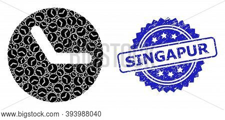 Singapur Rubber Seal And Vector Recursive Collage Time. Blue Seal Includes Singapur Title Inside Ros