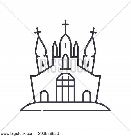 Abandoned Castle Icon, Linear Isolated Illustration, Thin Line Vector, Web Design Sign, Outline Conc