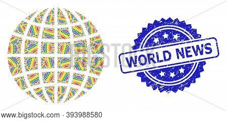 World News Textured Stamp And Vector Recursive Collage Lgbt Globe. Blue Stamp Seal Includes World Ne