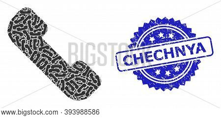 Chechnya Dirty Stamp Seal And Vector Recursive Collage Phone Receiver. Blue Seal Contains Chechnya T