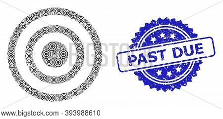 Past Due Scratched Stamp Seal And Vector Recursion Collage Concentric Circles. Blue Stamp Seal Inclu