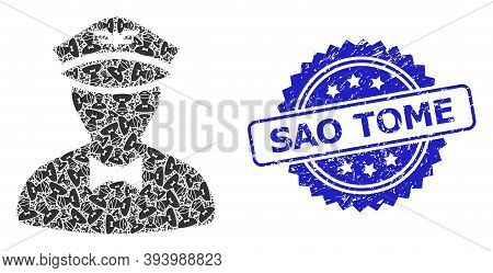 Sao Tome Dirty Stamp Seal And Vector Fractal Mosaic Flying Attendant. Blue Stamp Seal Has Sao Tome T