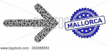 Mallorca Corroded Seal Print And Vector Fractal Mosaic Right Arrow. Blue Seal Has Mallorca Text Insi