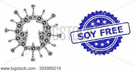 Soy Free Dirty Seal And Vector Recursive Mosaic Human Virus. Blue Stamp Seal Contains Soy Free Capti