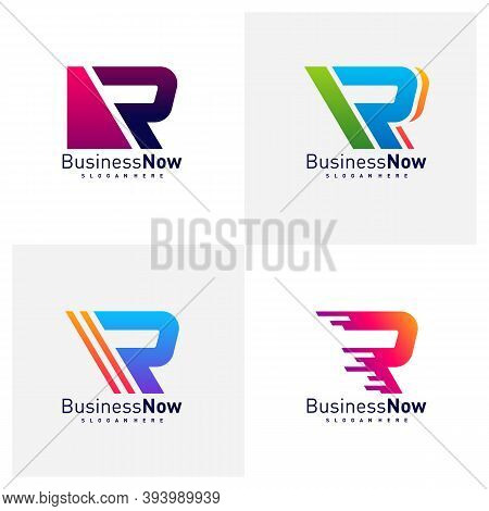Set Of Initial R Logo Design Vector Template, Illustration Letter R Design Concept, Icon Symbol