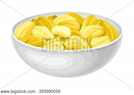 Jackfruit Fruit Yellow Seeds Rested In Bowl Vector Illustration