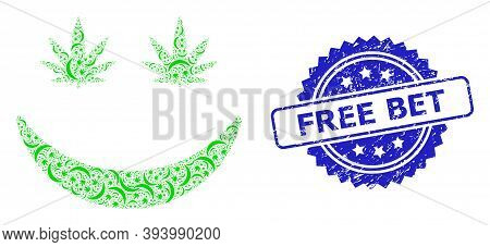 Free Bet Scratched Seal Print And Vector Recursion Mosaic Cannabis Smile. Blue Stamp Seal Has Free B