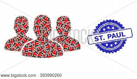 St. Paul Dirty Stamp Seal And Vector Fractal Mosaic Leader Men Group. Blue Stamp Seal Includes St. P