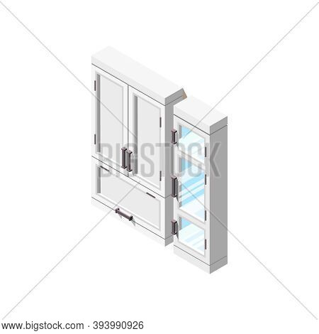 Loft Interior Isometric Composition With Isolated Image Of Rack Cabinets With Transparent And Non-tr