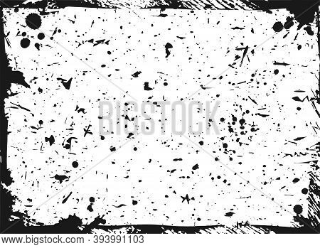 Speckled Paper With Paint Or Ink Drops And Splashes On White Background. Black And White Grunge Post