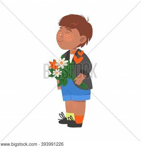 Cute Flushed Boy In Jacket Holding Flower Bouquet Vector Illustration