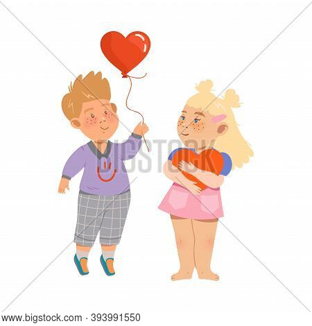 Cute Flushed Boy And Girl Standing Holding Heart And Balloon Vector Illustration