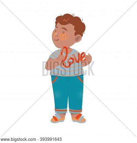 Flushed Little Boy In Jeans Holding Love Word Vector Illustration