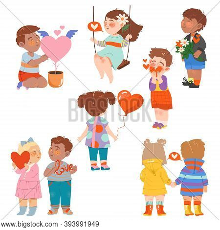 Flushed And Shy Little Boy And Girl Holding Hands And Heart Feeling Love Vector Illustration Set