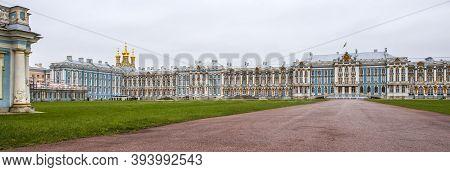 St-petersburg, Russia -12.10.2016: Catherine Palace In Pushkin Garden At Tsarskoe Selo.