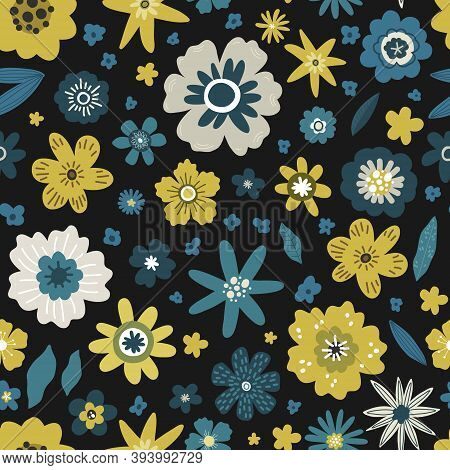 Yellow And Blue Flowers With Leaves Seamless Pattern, Vector Hand Drawing Greeting Card Template