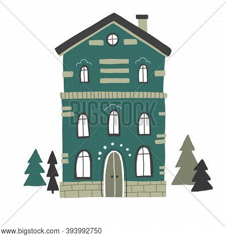 House And Christmas Trees Vector Drawing, Cartoon Cute