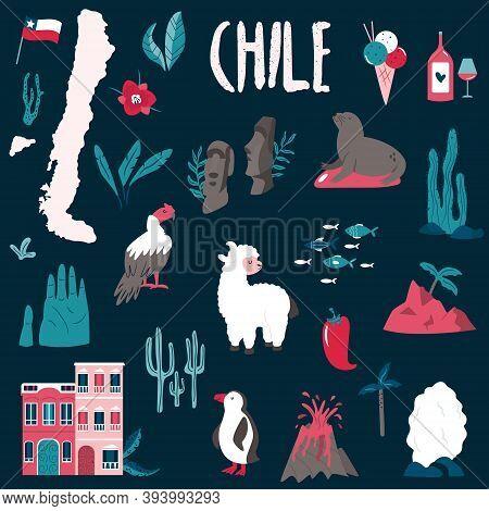 Big Set Of Landmarks, Symbols Of Chile, South America.